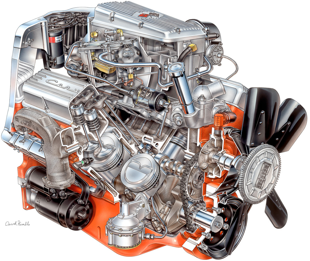 1965 Chevrolet Corvette Fuel Injected Engine David Kimble Cutaway Drawing