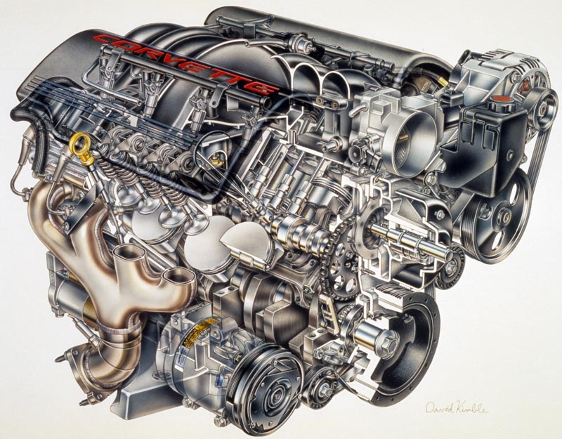 1997 Chevrolet Corvette LS1 Engine - David Kimble Illustration