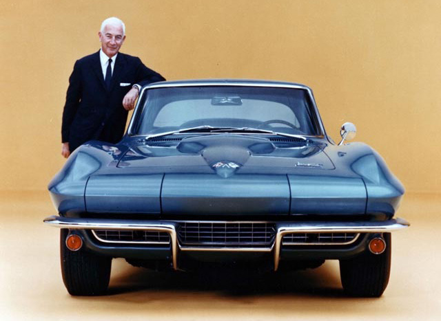 Zora Arkus Duntov With 1966 Chevrolet Corvette Coupe
